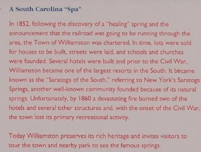 "Williamston Marker - South Carolina ""Spa"" image. Click for full size."