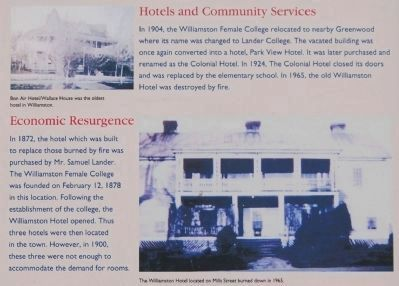 Williamston Marker - Economic Resurgence/Hotels and Community image. Click for full size.