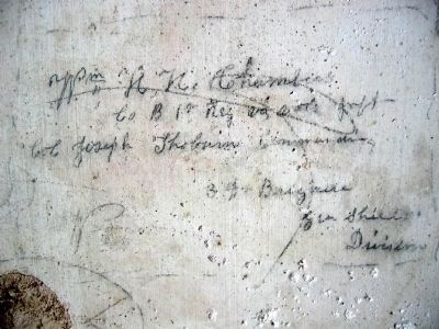 Prisoner graffiti in Rectortown Depot. image. Click for full size.
