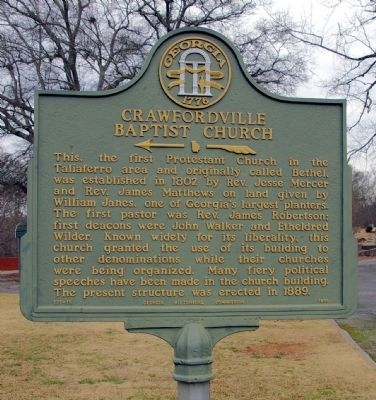 Crawfordville Baptist Church Marker image. Click for full size.