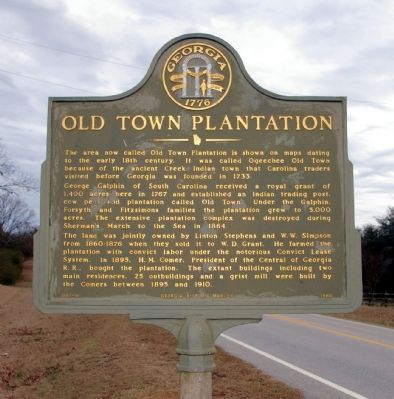 Old Town Plantation Marker image. Click for full size.