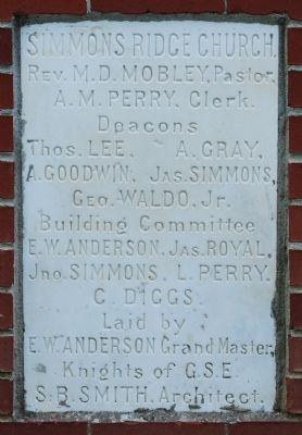 Simmon Ridge Missionary Baptist<br>Church Cornerstone image. Click for full size.