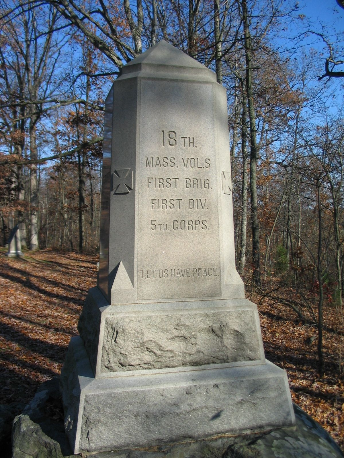 18th Massachusetts Volunteers Monument