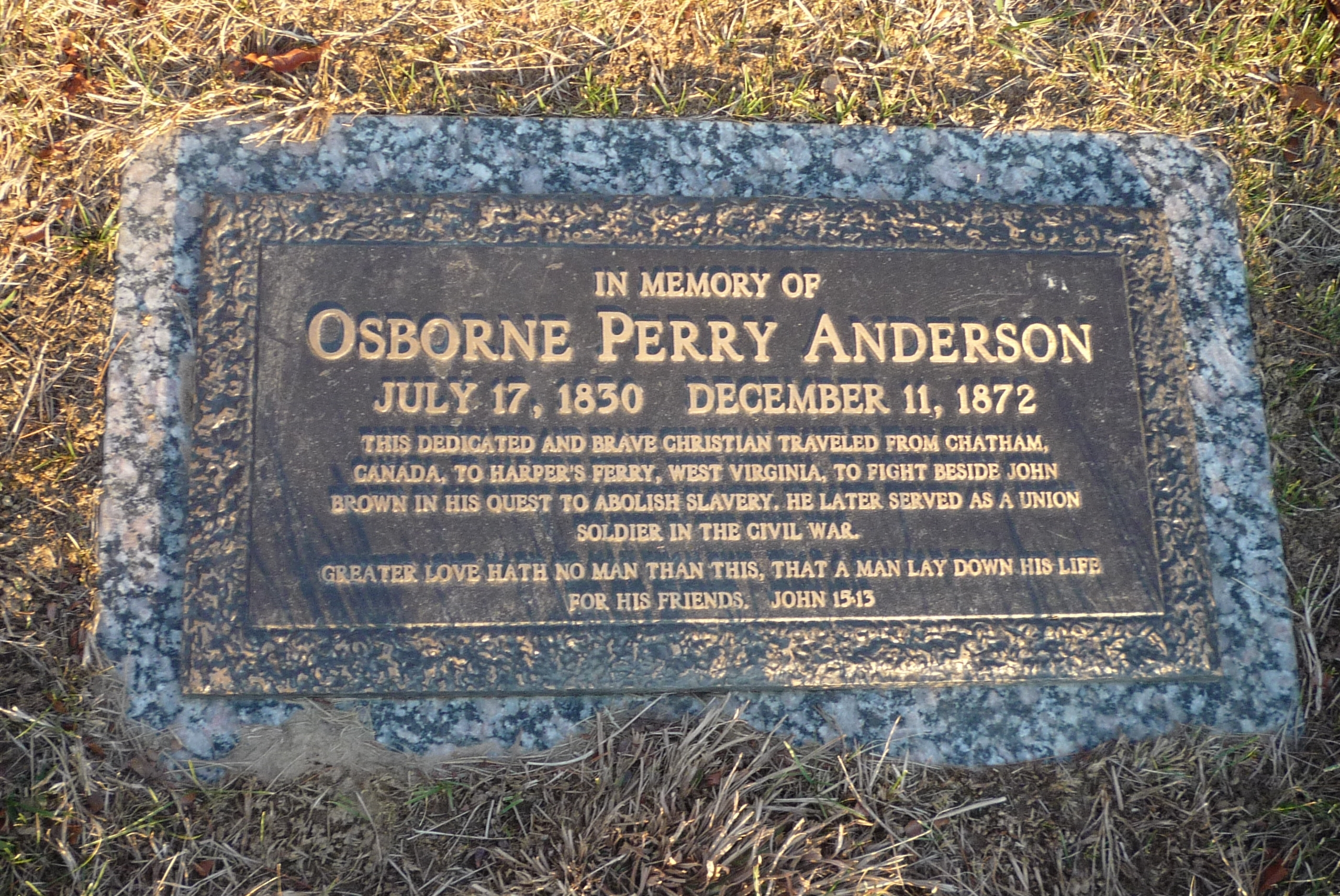Oxborne Perry Anderson grave marker