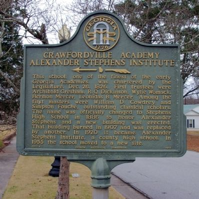 Crawfordville Academy Alexander Stephens Institute Marker image. Click for full size.