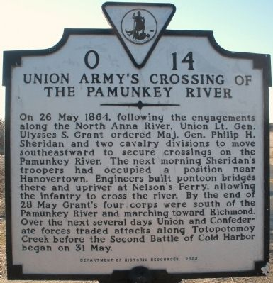 Union Army's Crossing of the Pamunkey River Marker image. Click for full size.