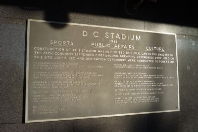 D.C. Stadium dedication marker, image. Click for full size.