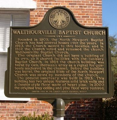 Walthourville Baptist Church Marker image. Click for full size.