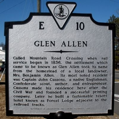 Glen Allen Marker image. Click for full size.