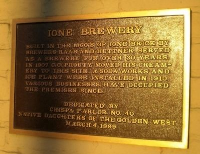 Ione Brewery Marker image. Click for full size.