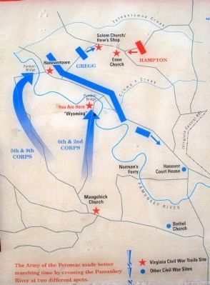The Union 6th & 2nd Corps crossed into Hanover County at Nelson's Ferry. image. Click for full size.