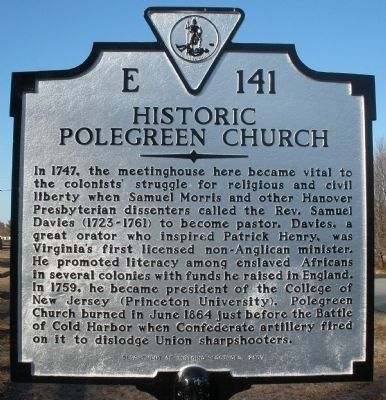 Historic Polegreen Church Marker image. Click for full size.