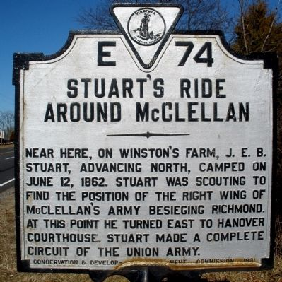Stuart's Ride Around McClellan Marker image. Click for full size.