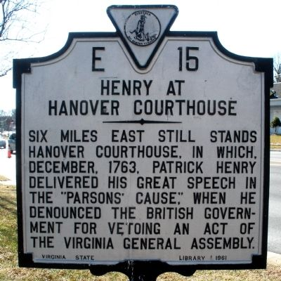 Henry at Hanover Courthouse Marker image. Click for full size.