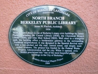 North Branch Berkeley Public Library Marker image. Click for full size.