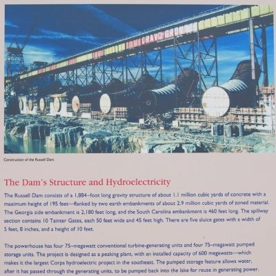 Richard B. Russell Dam Marker -<br>The Dam&#39;s structure and Hydroelectricity image. Click for full size.