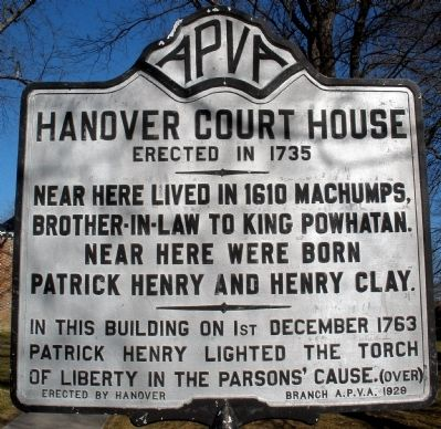 Hanover Court House Marker (obverse) image. Click for full size.