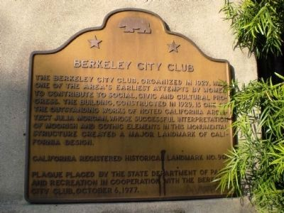 Berkeley City Club Marker image. Click for full size.