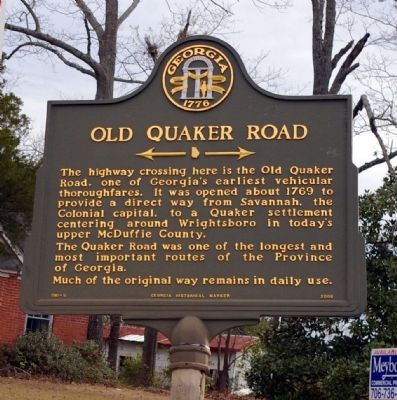Old Quaker Road Marker image. Click for full size.