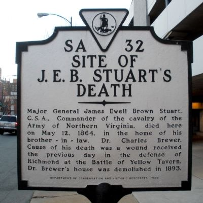 Site of J. E. B. Stuart's Death Marker image. Click for full size.
