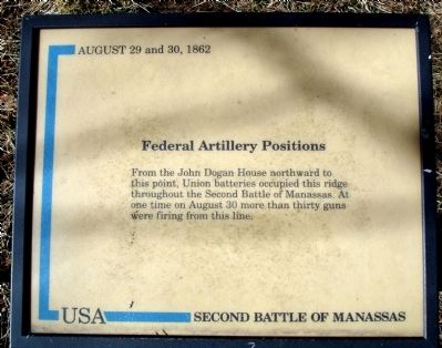 Federal Artillery Positions Marker image. Click for full size.