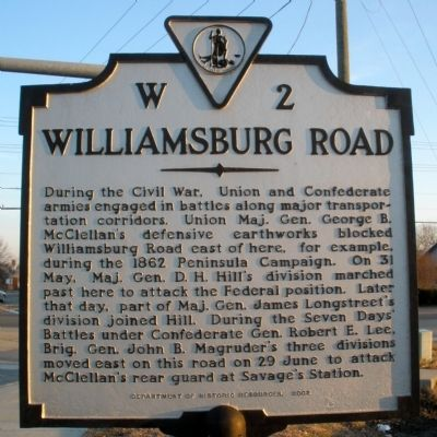 Williamsburg Road Marker image. Click for full size.