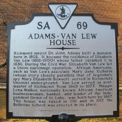 Adams-Van Lew House Marker image. Click for full size.