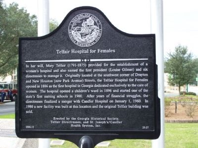 Telfair Hospital for Females Marker image. Click for full size.