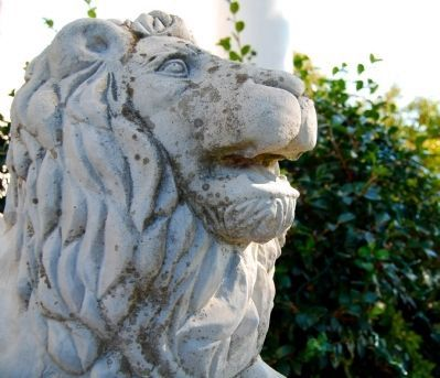 Gassaway Mansion -<br>Stone Lion Guarding Front Entrance image. Click for full size.