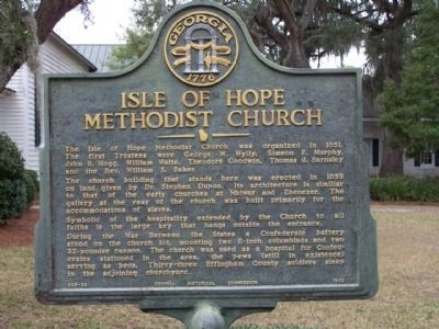 Isle of Hope Methodist Church Marker image. Click for full size.