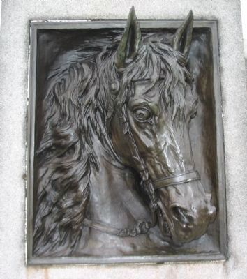 Relief of Horse's Head on Front of Monument image. Click for full size.