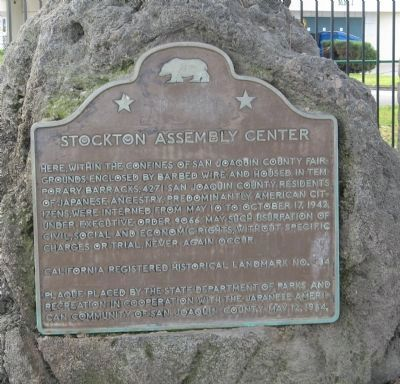 Stockton Assembly Center Marker image. Click for full size.