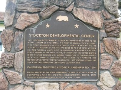 Stockton Developmental Center Marker image. Click for full size.