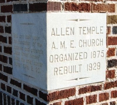 Allen Temple AME Church Cornerstone image. Click for full size.