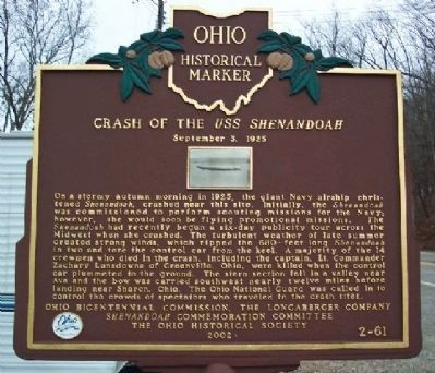 Crash of the USS Shenandoah Marker image. Click for full size.