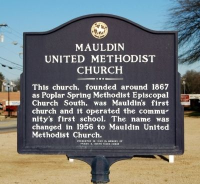 Mauldin United Methodist Church Marker image. Click for full size.