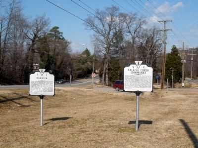 Warwick Marker at Falling Creek Wayside image. Click for full size.