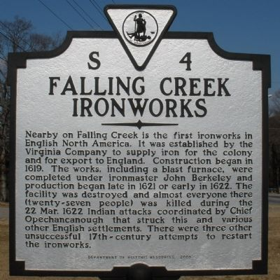 Falling Creek Ironworks Marker image. Click for full size.