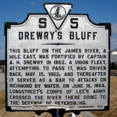 Drewry's Bluff Marker image. Click for full size.