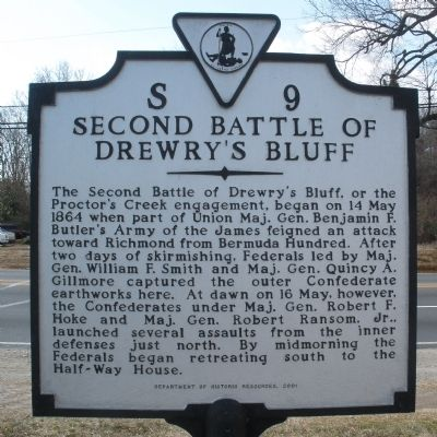 Second Battle of Drewry's Bluff Marker image. Click for full size.