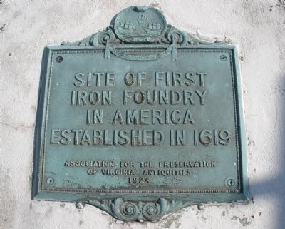 Site of First Iron Foundry in America Marker image. Click for full size.