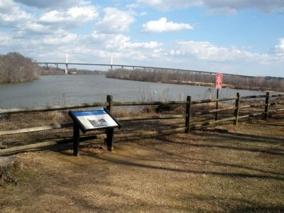Dutch Gap Canal CWT Marker looking downriver towards the Varina-Enon bridge. image. Click for full size.
