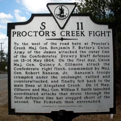 Proctor's Creek Fight Marker image. Click for full size.