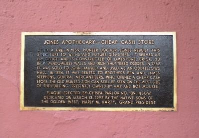 Jones Apothecary – Cheap Cash Store Marker image. Click for full size.