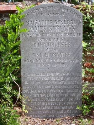 General James Screven Marker at Midway Cemetery( Coordinates:31.805984, -81.431072) image. Click for full size.