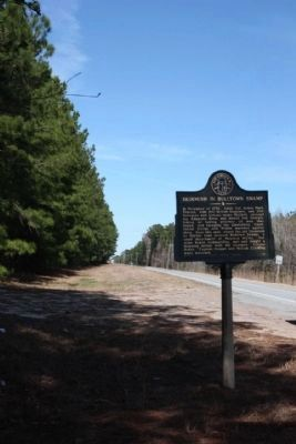 Skirmish in Bulltown Swamp Marker, looking north along US 17, Ga 25 image. Click for full size.