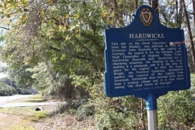 Hardwicke Marker looking west along Fort McAllister Road (Spur State Highway 144) image. Click for full size.