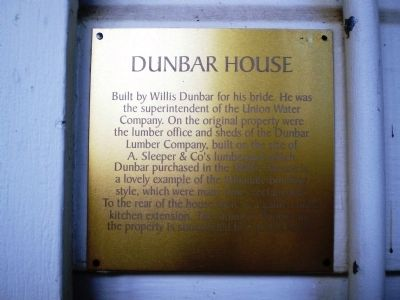 Dunbar House Marker image. Click for full size.