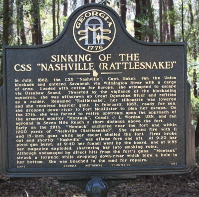 "Sinking of the CSS ''Nashville (Rattlesnake)"" Marker image. Click for full size."