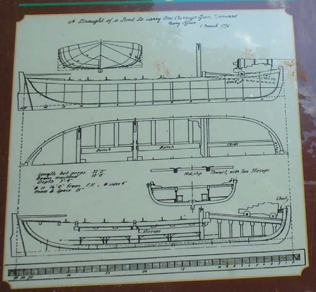 British 1776 Gunboat Plans from Marker image. Click for full size.